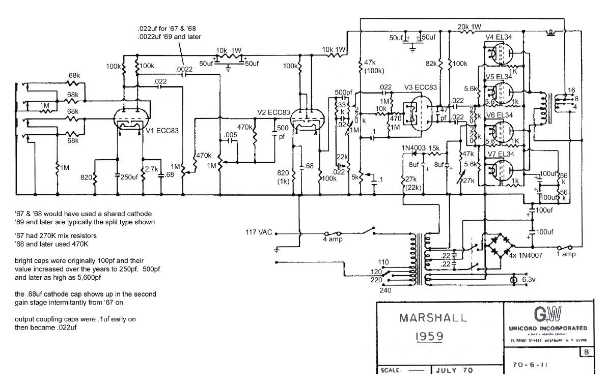 marshall 1959 schematic Marshall Plexi Wiring Diagram the plexi 6v6