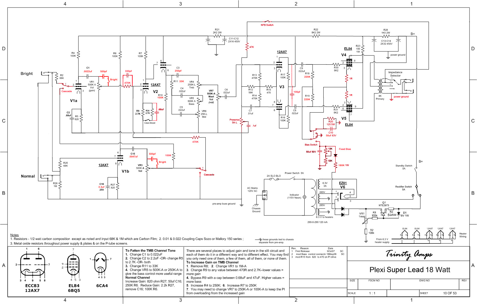 Are there other changes I need to make to the PI? Should I be using the 10k  tail and 1M grid leaks from the 1959 circuit as well?